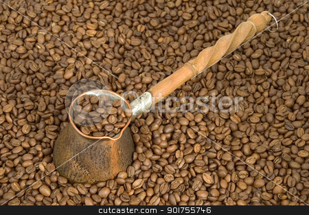Turkish coffee pot. stock photo, Turkish coffee pot and coffee beans. by Yury Ponomarev