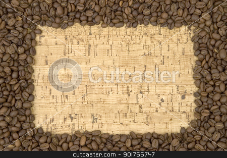 Coffee. stock photo, Coffee in grains on a light background. by Yury Ponomarev