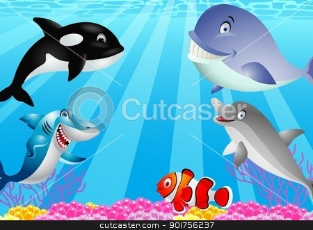 Sea life cartoon stock vector clipart, Vector Illustration Of Sea life cartoon by Surya Zaidan