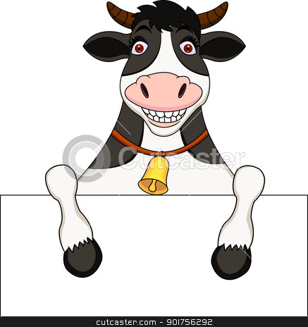Cow cartoon with blank sign stock vector clipart, Vector Illustration Of Cow cartoon with blank sign by Surya Zaidan