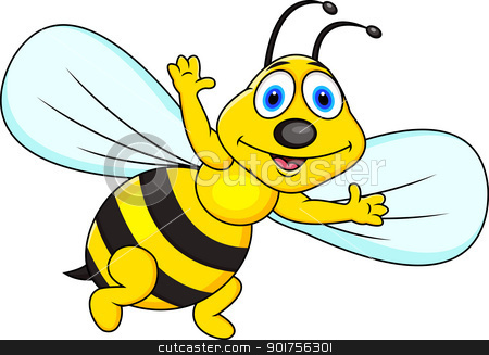 Funny bee cartoon stock vector clipart, Vector Illustration Of Funny ...