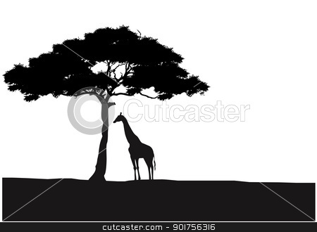 Giraffe silhouette background  stock vector clipart, Vector Illustration Of Giraffe silhouette background  by Surya Zaidan