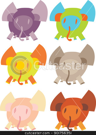 Cute Elephants Over White stock vector clipart, Cute cartoon clip art elephants in different colors by Eric Basir