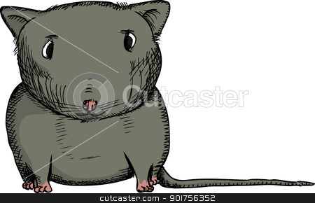 Black Gerbil stock vector clipart, Cartoon of isolated black gerbil staring ahead by Eric Basir