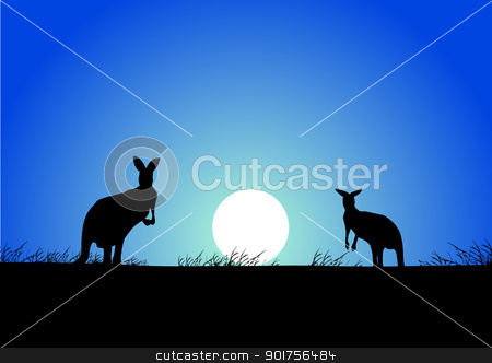 Kangaroo on the sunset background  stock vector clipart, Vector Illustration Of Kangaroo on the sunset background  by Surya Zaidan