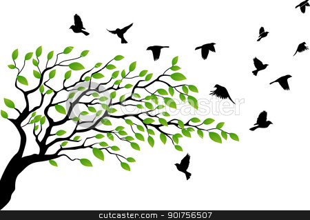 Tree silhouette with bird flying  stock vector clipart, Vector Illustration Of Tree silhouette with bird flying  by Surya Zaidan