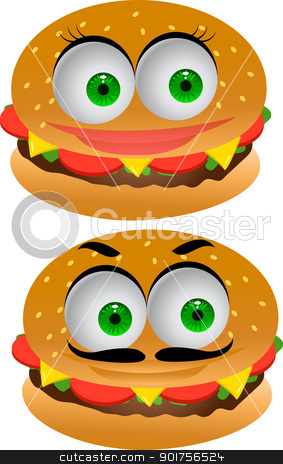 Burger cartoon character  stock vector clipart, Vector Illustration Of Burger cartoon character  by Surya Zaidan