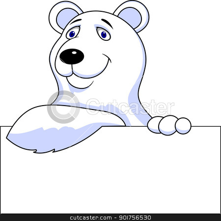 Polar bear cartoon with blank sign  stock vector clipart, Vector Illustration Of Polar bear cartoon with blank sign  by Surya Zaidan