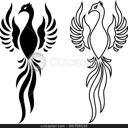 Phoenix bird tattoo  stock vector clipart, Vector Illustration Of Phoenix bird tattoo  by Surya Zaidan