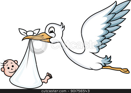 Stork with baby  stock vector clipart, Vector Illustration Of Stork with baby  by Surya Zaidan