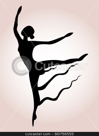 Ballet art silhouette  stock vector clipart, Vector Illustration Of Ballet art silhouette  by Surya Zaidan