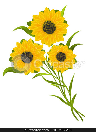 Sunflowers stock vector clipart, Sunflowers illustration, isolated and grouped objects over white background. by Richard Laschon