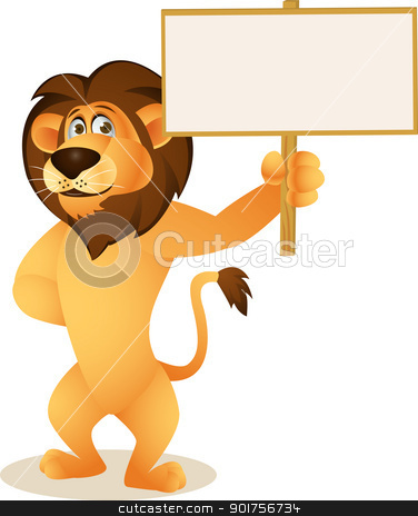 Funny lion cartoon with blank sign  stock vector clipart, Vector Illustration Of Funny lion cartoon with blank sign  by Surya Zaidan