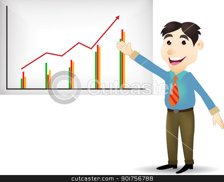 Illustration of young business people cartoon presentation  stock vector clipart, Vector Illustration Of Illustration of young business people cartoon presentation  by Surya Zaidan