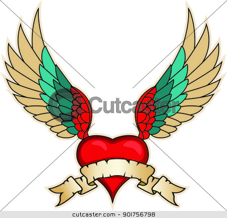 wings and heart banner illustration  stock vector clipart, Vector Illustration Of wings and heart banner illustration  by Surya Zaidan