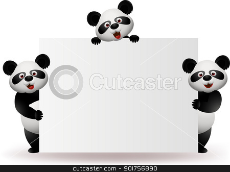 Three pandas with blank sign stock vector clipart, Vector Illustration Of Three pandas with blank sign by Surya Zaidan