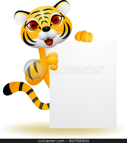 Tiger cartoon with blank sign  stock vector clipart, Vector Illustration Of Tiger cartoon with blank sign  by Surya Zaidan