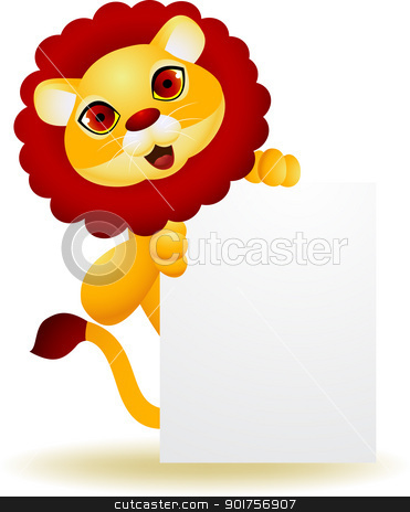 Lion cartoon with blank sign  stock vector clipart, Vector Illustration Of Lion cartoon with blank sign  by Surya Zaidan