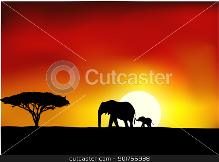 Africa sunset  stock vector clipart, Vector Illustration Of Africa sunset  by Surya Zaidan