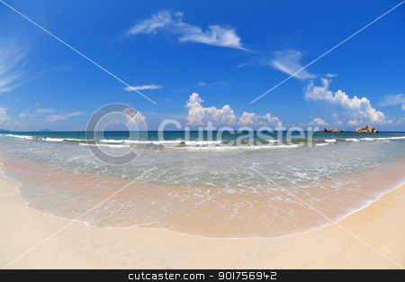 Wide angle beach. stock photo, Tropical Beach with wide angle fisheye view. by szefei