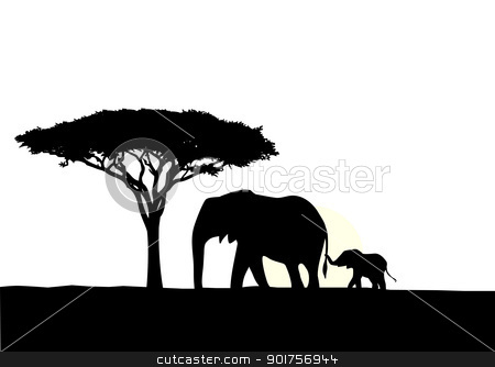 African elephant with baby silhouette  stock vector clipart, Vector Illustration Of African elephant with baby silhouette  by Surya Zaidan