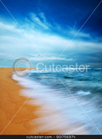 Moody sky and beach stock photo, Moody sky and beach, slow shutter.  by szefei