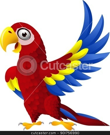Detailed funny macaw bird cartoon  stock vector clipart, Vector Illustration Of Detailed funny macaw bird cartoon  by Surya Zaidan