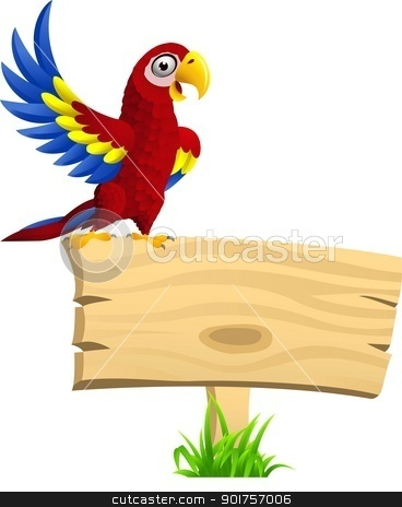 Macaw with blank signboard  stock vector clipart, Vector Illustration Of Macaw with blank signboard  by Surya Zaidan