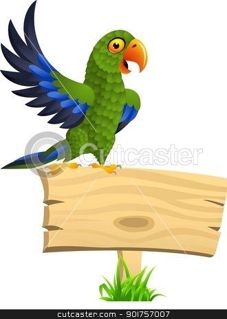 Green parrot with blank signboard  stock vector clipart, Vector Illustration Of Green parrot with blank signboard  by Surya Zaidan