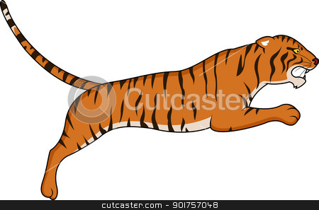 Tiger jumping stock vector clipart, Vector Illustration Of Tiger jumping by Surya Zaidan