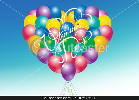 Heart balloons stock photo, Color balloons designed as a big heart by Diana