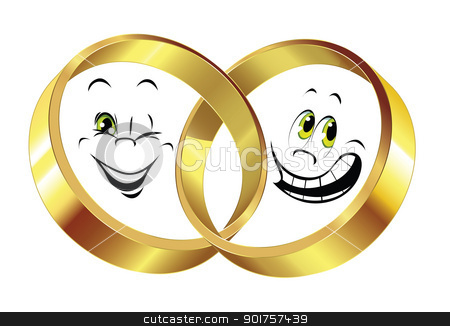 Wedding rings stock photo, Wedding rings and two different smiles on white background by Diana
