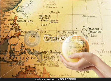 Globe stock photo, Small globe on the globe background by Diana