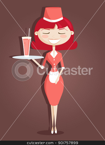 Retro cartoon waitress stock photo, Retro cartoon waitress, vector illustration by kariiika
