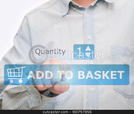 Pushing Add to Basket Button stock photo, Man's Hand Pushing Download Button on Touch Screen by JAMDesign