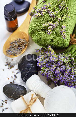 Lavender spa stock photo, lavender spa (fresh lavender flowers,  essential oil, salt,  Herbal massage balls, zen stones) over white by klenova