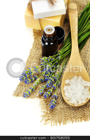 aromatherapy stock photo, lavender spa (fresh lavender flowers,  essential oil, salt,  soap) over white by klenova