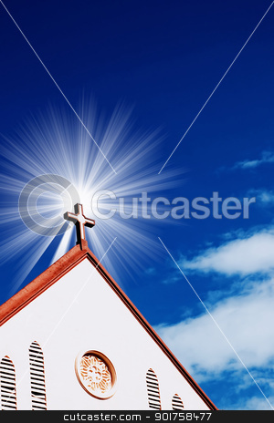 church  stock photo, church with sun and blue sky  by szefei