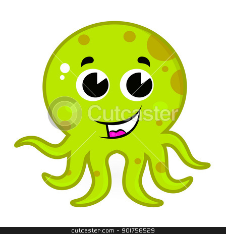 Cute green octopus isolated on white stock vector clipart, Cartoon octopus isolated on white. Vector by BEEANDGLOW