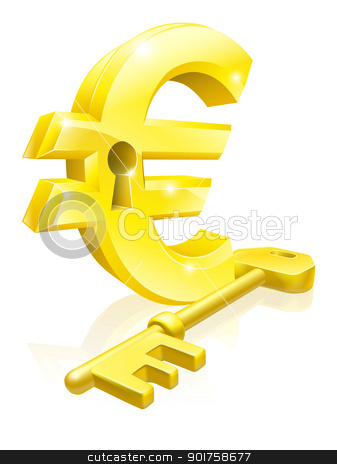 Euro key lock concept stock vector clipart, Conceptual illustration of a gold Euro sign and key. Concept for unlocking financial success or cash or for financial security. by Christos Georghiou