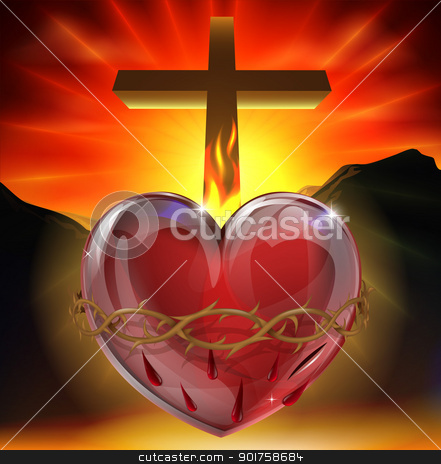 The Sacred Heart illustration stock vector clipart, Illustration of the Christian symbol of the sacred heart. A heart shining with divine light with crown of thorns,  lance wound and flame representing divine love. by Christos Georghiou