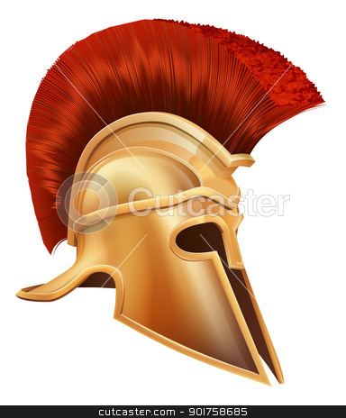 Ancient Greek Warrior Helmet stock vector clipart, Illustration of an ancient Greek Warrior helmet, Spartan helmet, Roman helmet or Trojan helmet. by Christos Georghiou