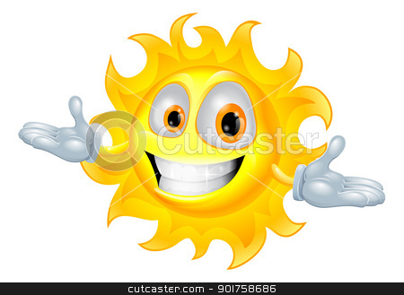 Cute sun mascot cartoon character stock vector clipart, A cute sun mascot cartoon character illustration by Christos Georghiou