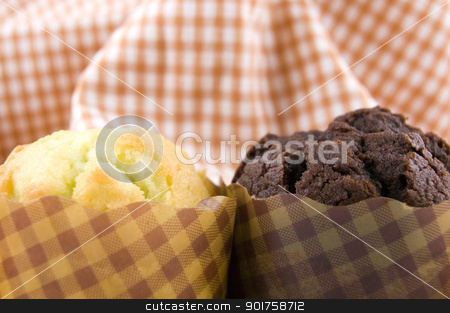 muffins  stock photo, muffins on grid background  by szefei