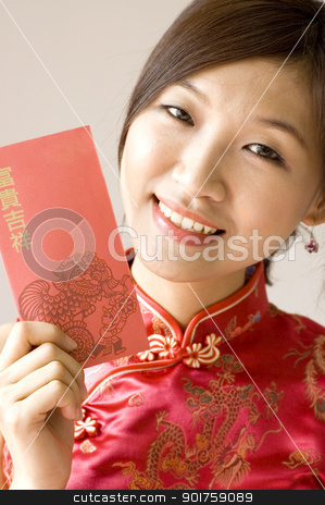 Happy New Year stock photo, pretty Asian with cheongsam wear by szefei