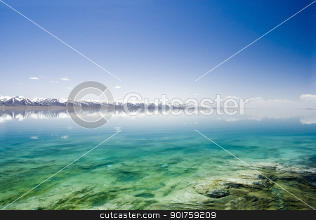 mountain lake in winter stock photo, mountain lake in winter