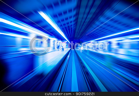 Speedy trains passing train station. stock photo, Speedy trains passing train station. Focus on the rail road.  by szefei