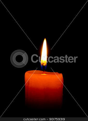 A single burning  candle isolated on  black   stock photo,  by kongsky