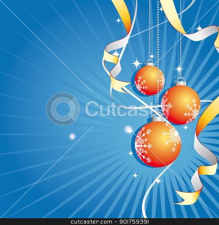 Christmas Background (Vector) stock vector clipart, Illustration of a christmas background with golden balls  by simas2