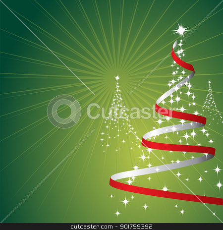 Christmas Background (Vector) stock vector clipart, Illustration of a christmas background with trees made of stars on green by simas2